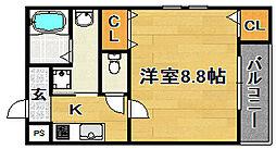 大阪府大阪市東淀川区豊新3丁目の賃貸アパートの間取り