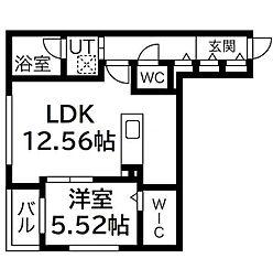 HGS山鼻II 5階1LDKの間取り