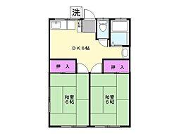 ハイネス北田B[2階]の間取り