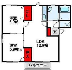 ボヌール立屋敷[B202号室]の間取り