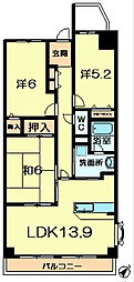 ヴェルナール富雄3番館[4階]の間取り