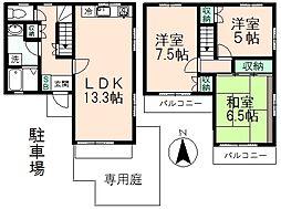 ブリージングタウン百草園D−2−1[2-1号室]の間取り