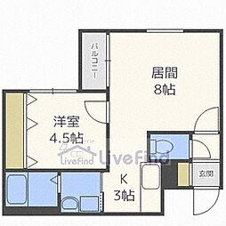 札幌市営南北線 中の島駅 徒歩2分の賃貸マンション 2階1LDKの間取り