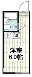 ユナイト蒔田ペンシルベニア 2階ワンルームの間取り