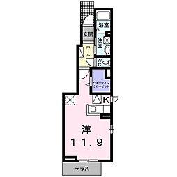 ルナ イ ソルB(アパート) 1階1Kの間取り