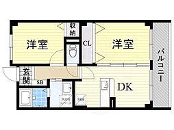 南海高野線 萩原天神駅 徒歩11分の賃貸マンション 1階2DKの間取り