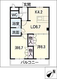 プレステージ壱番館[1階]の間取り