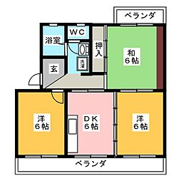 コンフォール賀茂[2階]の間取り