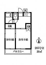 013603 さつき荘[205号室]の間取り