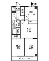 カーサーウチノ[5階]の間取り