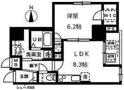 東京メトロ千代田線 根津駅 徒歩4分の賃貸マンション 8階1LDKの間取り