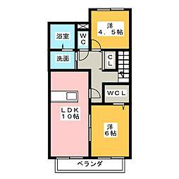 静岡県三島市谷田の賃貸アパートの間取り