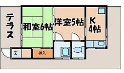 園杭アパート[1階]の間取り