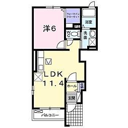 JR東海道本線 藤枝駅 バス37分 吉田団地下車 徒歩18分の賃貸アパート 1階1LDKの間取り