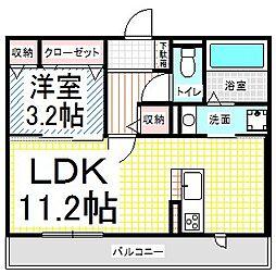 長野県長野市吉田1丁目の賃貸アパートの間取り
