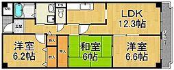 兵庫県西宮市薬師町の賃貸マンションの間取り