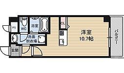 パークフロント福島 8階ワンルームの間取り