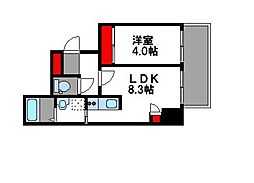 西鉄貝塚線 西鉄香椎駅 徒歩5分の賃貸マンション 3階1LDKの間取り