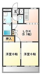 滋賀県愛知郡愛荘町市の賃貸アパートの間取り