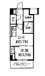 Osaka Metro長堀鶴見緑地線 西長堀駅 徒歩3分の賃貸マンション 2階1DKの間取り