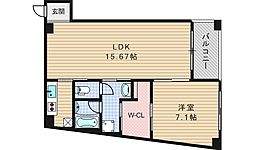 大阪府大阪市西区新町3丁目の賃貸マンションの間取り