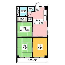 カサイハイツ[3階]の間取り