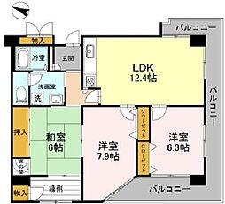 兵庫県神戸市長田区林山町の賃貸マンションの間取り