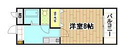 福岡県中間市通谷1丁目の賃貸アパートの間取り