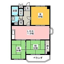 サンハイツカワムラ[4階]の間取り