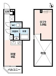 千葉県柏市桜台の賃貸アパートの間取り