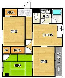 大阪府茨木市玉櫛2丁目の賃貸マンションの間取り