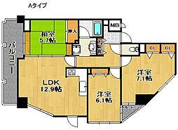 ウエストキャピタル・ツインムーンタワー[4階]の間取り