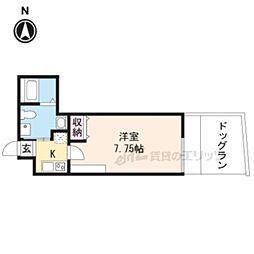 京都市営烏丸線 今出川駅 徒歩15分の賃貸マンション 1階1Kの間取り