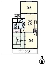 松美マンション[2階]の間取り