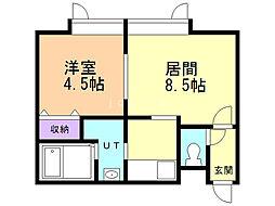 コンパートメントハウス北34条 2階1DKの間取り