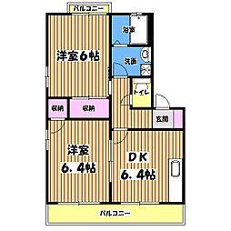 東京都武蔵村山市大南3丁目の賃貸アパートの間取り