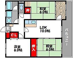 フロ−ラ 3[3階]の間取り
