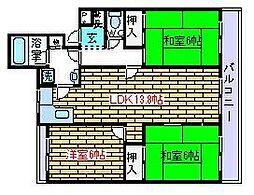 ロイヤルキャッツ安岡寺[2階]の間取り