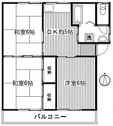 鮎川ハイツB[B号室号室]の間取り