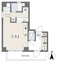 アライアンス船場 13階ワンルームの間取り