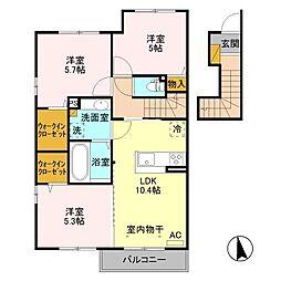 (仮)D-room平井町 B[2階]の間取り
