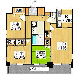 クラウンハイム京都北大路[3階]の間取り