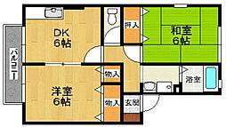 兵庫県神戸市北区鹿の子台南町2丁目の賃貸アパートの間取り