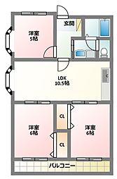 京阪本線 古川橋駅 徒歩17分の賃貸マンション 2階3LDKの間取り