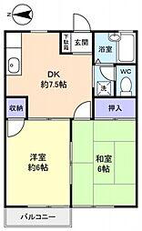 メゾンキャッスルK−1[102号室号室]の間取り