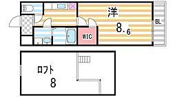 大阪府大東市太子田1丁目の賃貸アパートの間取り