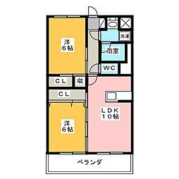 静岡県浜松市中区和合町の賃貸マンションの間取り