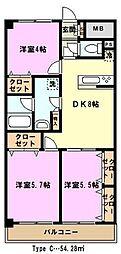 埼玉県川口市北原台1丁目の賃貸マンションの間取り