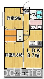 ラファセ エスティーロ 箱崎駅前[3階]の間取り