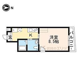 京福電気鉄道北野線 北野白梅町駅 徒歩12分の賃貸マンション 3階1Kの間取り